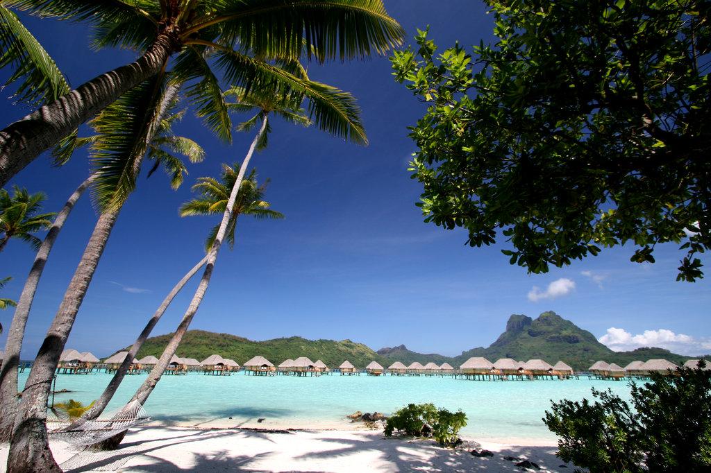 Bora Bora Pearl Beach Resort-Beach View: overwater bungalows and Mt. Otemanu<br/>Image from Leonardo