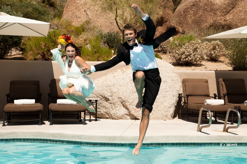 Boulders Resort & Spa, Curio Collection by Hilton-Wedding Couple Jumping in Lodge Pool - Sams - 07/1<br/>Image from Leonardo