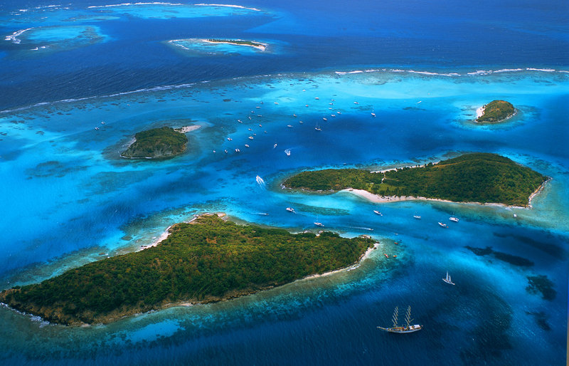 Young  Island  Resort-Tobago Cays - Aerial View<br/>Image from Leonardo
