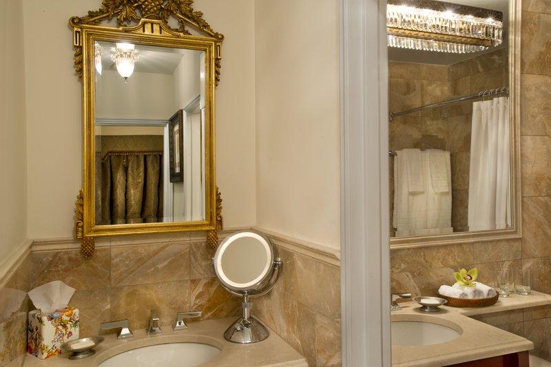 Kimberly Midtown Apartments-30E Vanity and Bathroom at The Kimberly Hotel <br/>Image from Leonardo