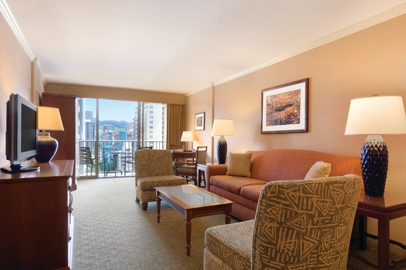 Outrigger Reef Waikiki Beach Resort - Outrigger Reef Waikiki Beach Resort - interior - ocean tower one bedroom city view double double livingroom <br/>Image from Leonardo