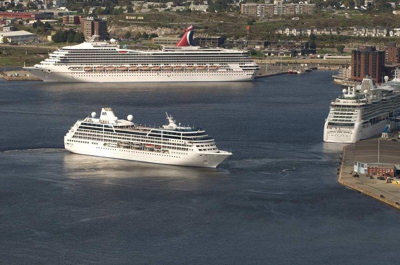 Hilton Saint John Trade &amp; Convention Centre-Cruiseships in the Harbour <br/>Image from Leonardo
