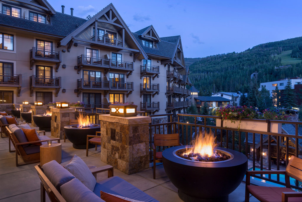Four Seasons Resort Vail-VAI_The Remedy Bar Terrace At Dusk<br/>Image from Leonardo