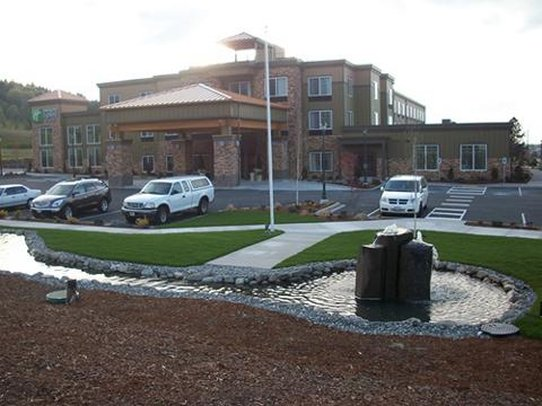 Holiday Inn Express Hotel & Suites North Sequim-Sequim hotel from the water feature<br/>Image from Leonardo