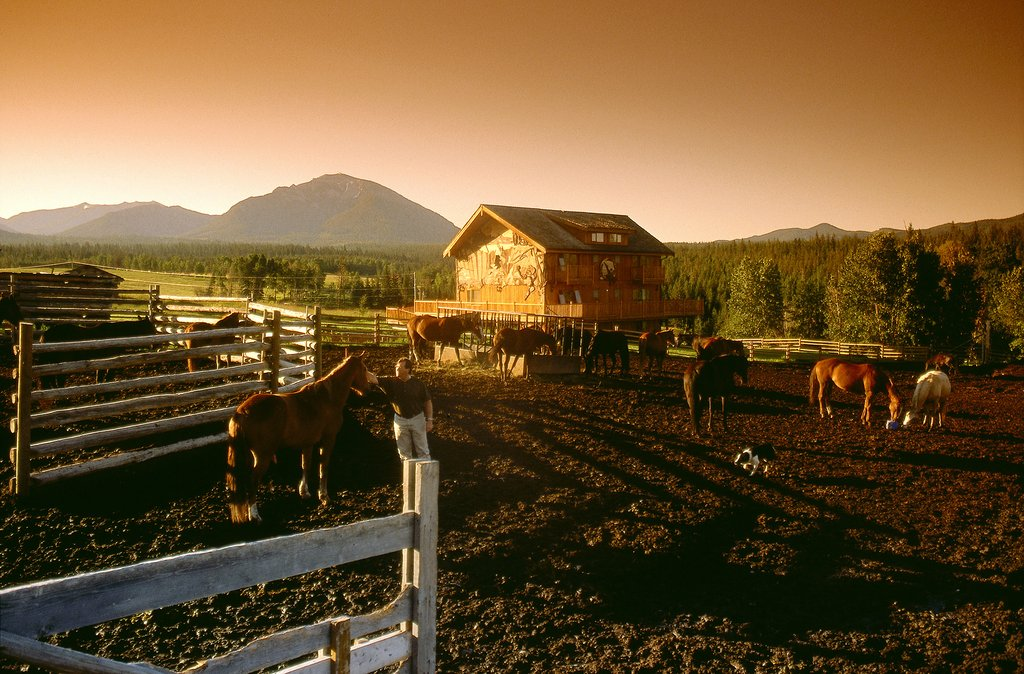 Echo Valley Ranch & Spa-Horse Corral at Sunset<br/>Image from Leonardo