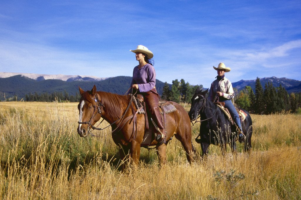 Echo Valley Ranch & Spa-Horses Two Lady Horseback Riders At Ranch<br/>Image from Leonardo
