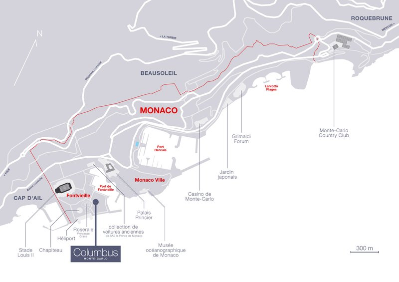 Columbus Monaco Hotel-access map<br/>Image from Leonardo