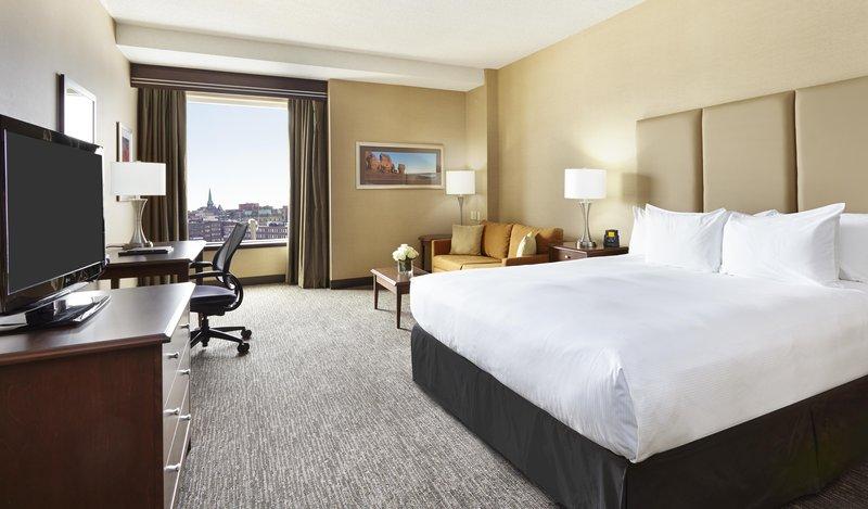 Hilton Saint John-One king bed with city views of Saint John. <br/>Image from Leonardo