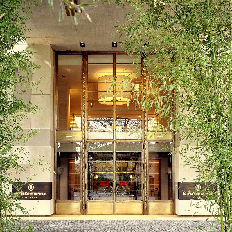 InterContinental Geneve-Entrance surrounded by Bamboos at InterContinental Geneva<br/>Image from Leonardo