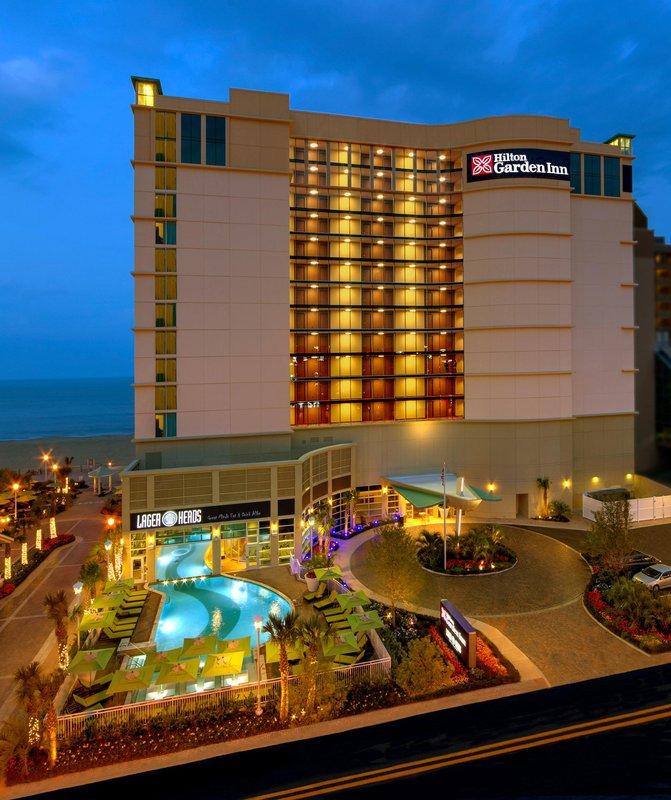 Hilton Garden Inn Virginia Beach Oceanfront-Exterior at Dusk<br/>Image from Leonardo