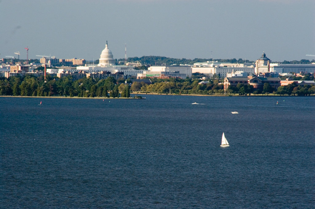 Crowne Plaza Old Town Alexandria-View from Hotel Room Of Potomac River With US Captial Building<br/>Image from Leonardo