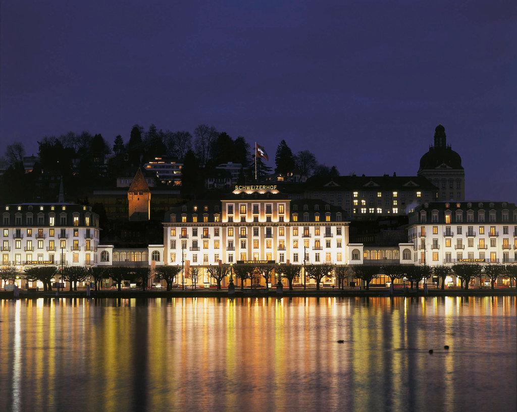 Hotel Schweizerhof Luzern-Exterior at Night<br/>Image from Leonardo