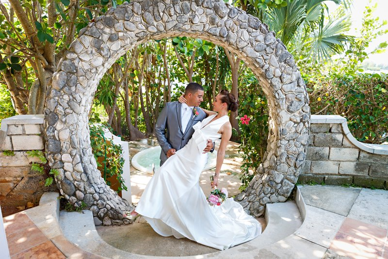 Grotto Bay Resort-Grotto Bay Wedding Moongate<br/>Image from Leonardo