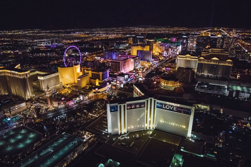 The Mirage Hotel and Casino - Nighttime Aerial <br/>Image from Leonardo