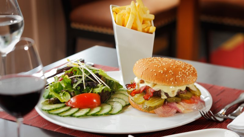 Crowne Plaza Brussels - Le Palace-Hamburger with the unique Belgian fries and fresh salad<br/>Image from Leonardo