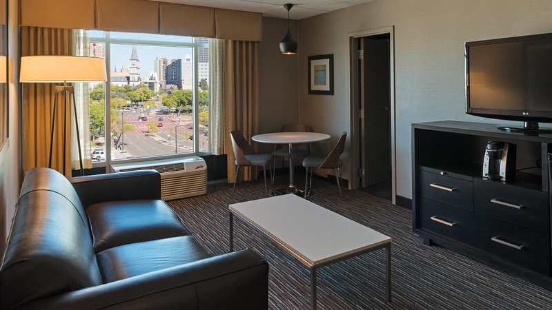 Holiday Inn St. Paul Downtown-Newly renovated king suite with separate living room. <br/>Image from Leonardo