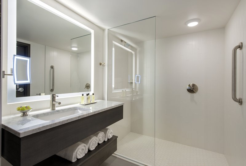 InterContinental Saint Paul Riverfront-Guest Bathroom with walk in shower<br/>Image from Leonardo