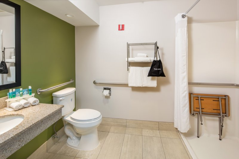 Holiday Inn Express Cedar Rapids (Collins Rd)-Wheelchair Accessible Roll-In Shower for those with ADA needs<br/>Image from Leonardo