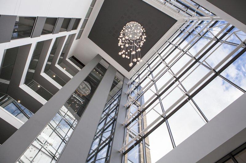 Crowne Plaza Newcastle - Stephenson Quarter-Atrium with glass balconies on every floor<br/>Image from Leonardo