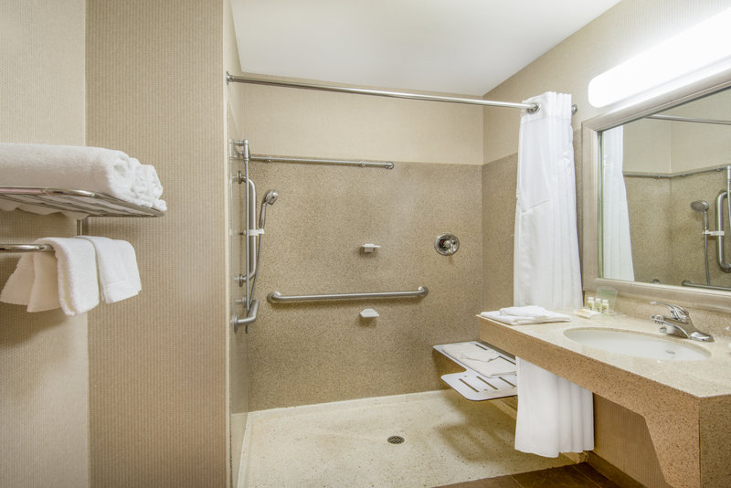 Holiday Inn Express Phoenix-I-10 West/Goodyear-ADA/Handicapped Guest Bathroom with roll-in shower<br/>Image from Leonardo