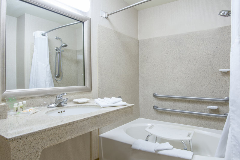 Holiday Inn Express Phoenix-I-10 West/Goodyear-ADA/Handicapped accessible Guest Bathroom with mobility tub<br/>Image from Leonardo