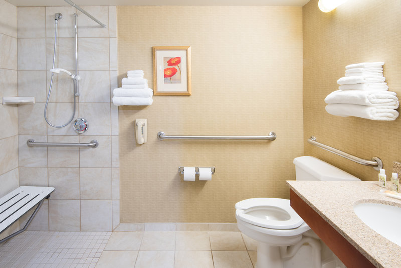 Holiday Inn Hotel & Suites Cincinnati-Eastgate (I-275e)-ADA/Handicap accessible Guest Bathroom with roll in shower.<br/>Image from Leonardo
