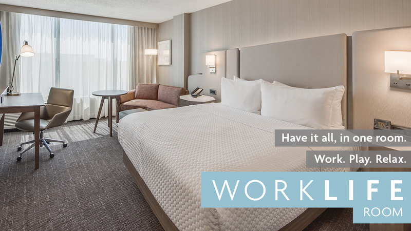 Crowne Plaza Downtown Denver-King WorkLife Room with Welcome Station <br/>Image from Leonardo