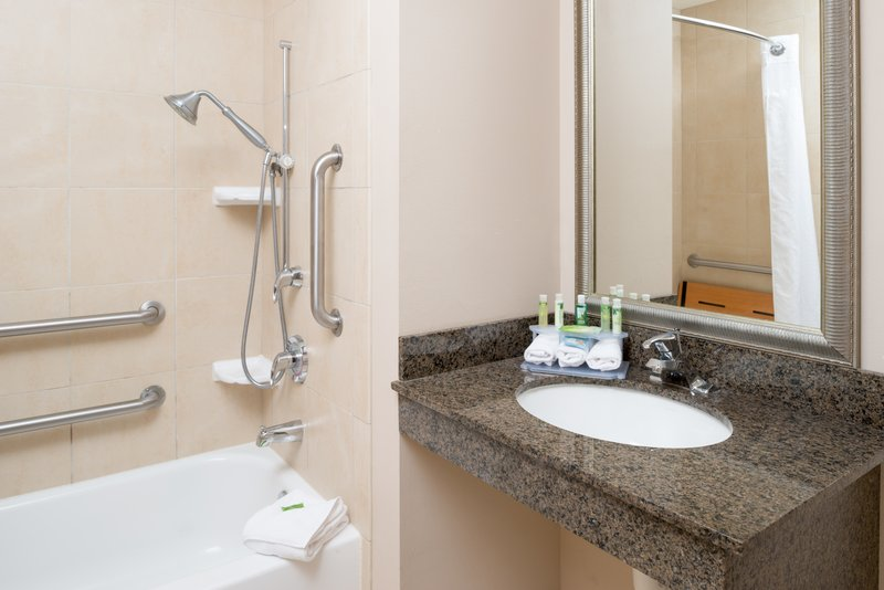 Holiday Inn Express Hotel & Suites North Sequim-ADA/Handicapped accessible Guest Bathroom with mobility tub<br/>Image from Leonardo