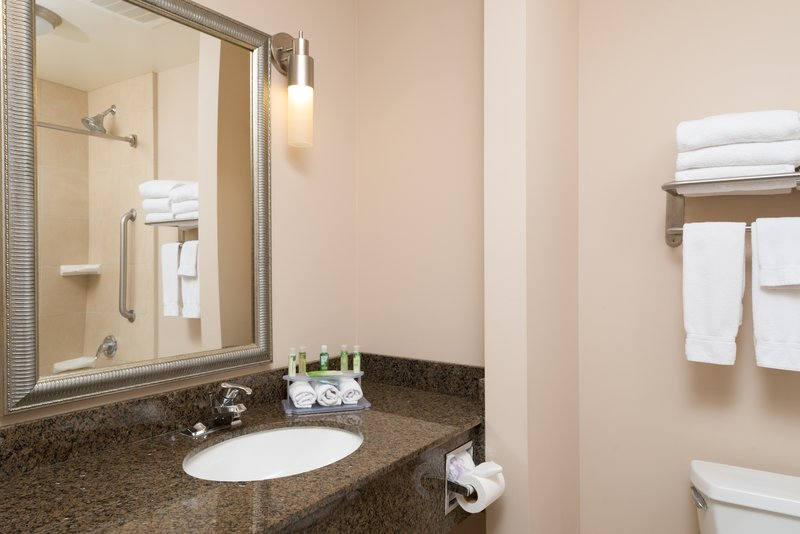 Holiday Inn Express Hotel & Suites North Sequim-Two Queen Suite Guest Bathroom<br/>Image from Leonardo
