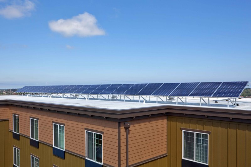 Holiday Inn Express Hotel & Suites North Sequim-Solar panels offer a Sequim Conference center 'Powered by the Sun'<br/>Image from Leonardo