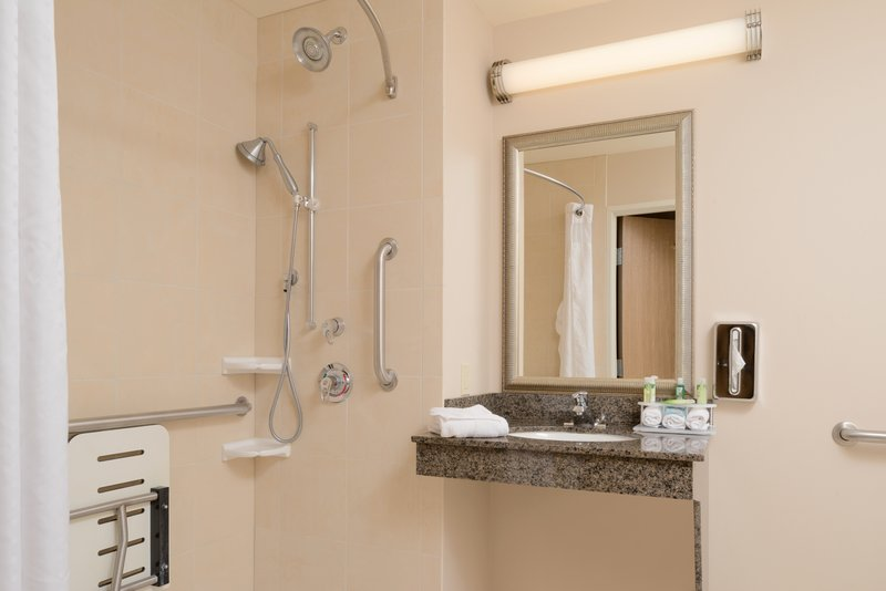Holiday Inn Express Hotel & Suites North Sequim-ADA/Handicapped accessible Guest Bathroom with roll-in shower<br/>Image from Leonardo