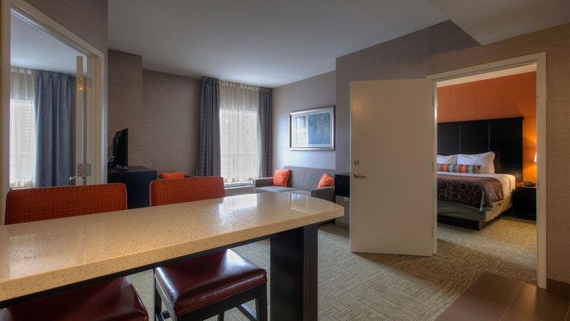 Staybridge Suites Hamilton - Downtown-Two Bedroom Suite One King Bedroom Two Queen Beds Bedroom<br/>Image from Leonardo