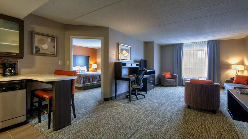 Staybridge Suites Hamilton - Downtown-One Bedroom Suite Living Room and Kitchen<br/>Image from Leonardo