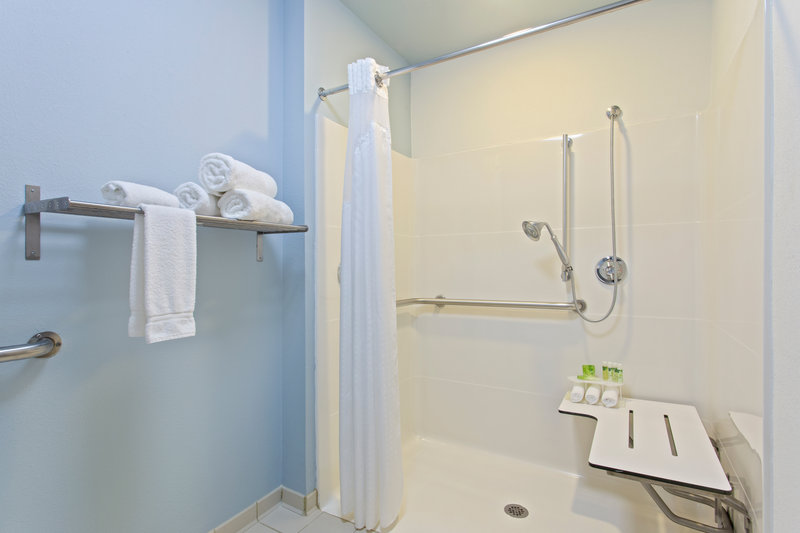 Holiday Inn Express Hotel & Suites Clearwater North/Dunedin-ADA/Handicapped accessible Guest Bathroom with roll-in shower<br/>Image from Leonardo