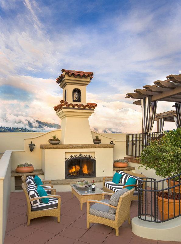 Canary Hotel Santa Barbara - A Kimpton Hotel-Rooftop Sitting Area and Fireplace<br/>Image from Leonardo