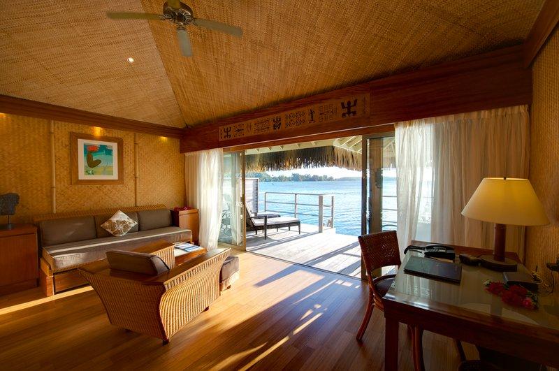 Intercontinental Moorea Resort-Lounge area of an overwater bungalow<br/>Image from Leonardo