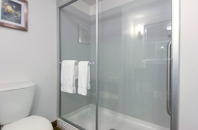 Holiday Inn Express & Suites Carlsbad Beach 4.4/5 | 506 Revi-Guest Bathroom with shower<br/>Image from Leonardo