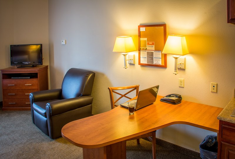 Candlewood Suites South Bend Airport-Large Workdesk Area, Reclining Chair and DVD in every Suite<br/>Image from Leonardo