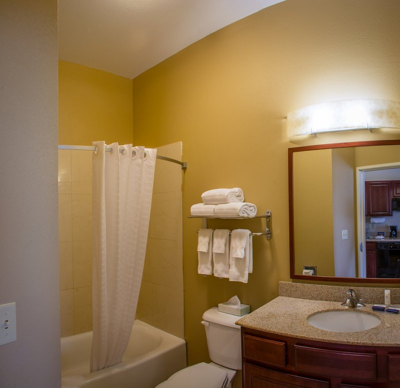 Candlewood Suites South Bend Airport-Bathroom Vanity with Drawers that Open for Extra Storage<br/>Image from Leonardo