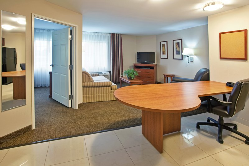 Candlewood Suites South Bend Airport-1 Bedroom Suite, with living area, large desk and separate bedroom<br/>Image from Leonardo