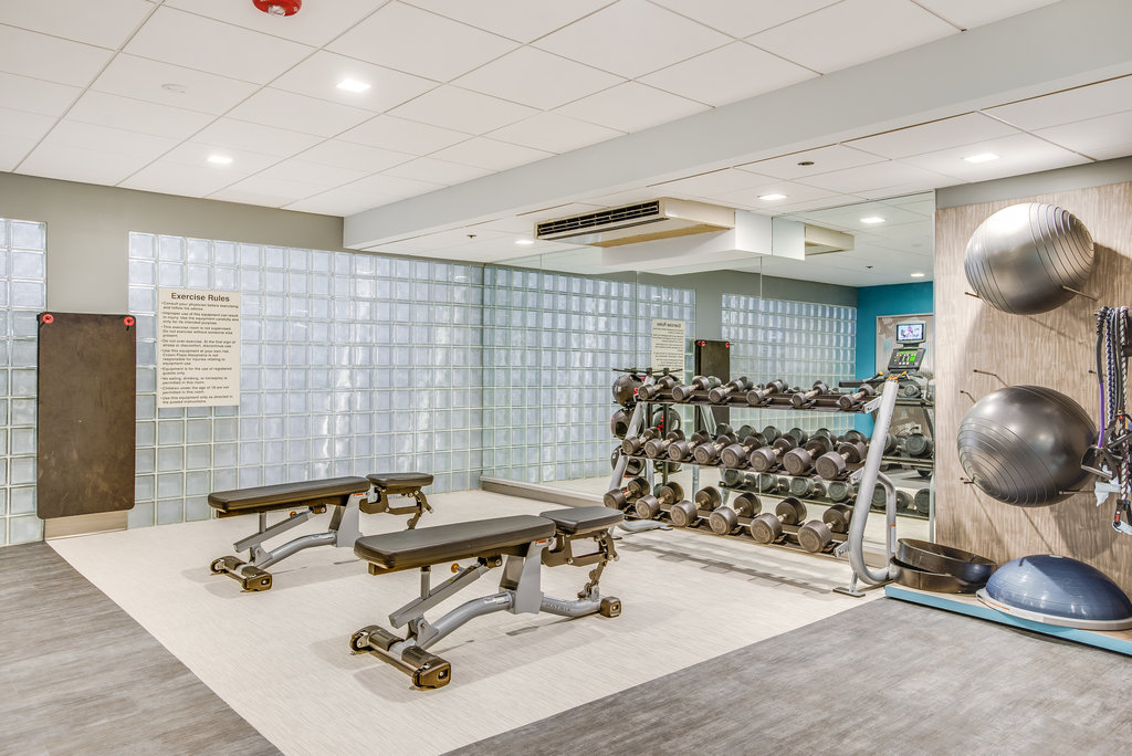 Crowne Plaza Old Town Alexandria-New Fitness Center, free weights, bench, and exercise ball<br/>Image from Leonardo