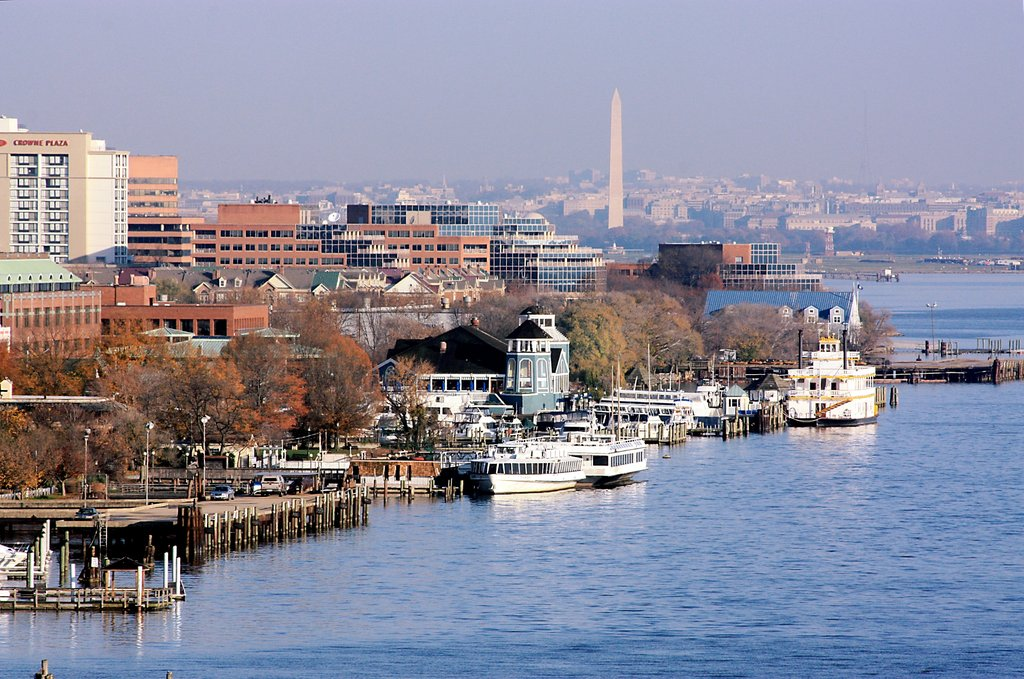 Crowne Plaza Old Town Alexandria-Amazing Shot From Wilson Bridge Toward DC With Hotel On Left<br/>Image from Leonardo