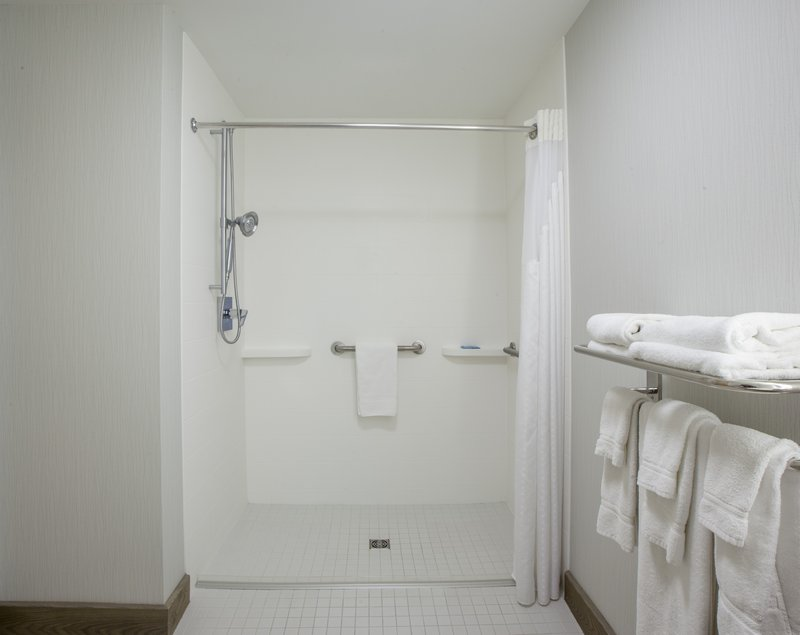 Holiday Inn Express &amp; Suites St. John Harbour Sde-Wheelchair Accessible Guest Bathroom with Roll In Shower<br/>Image from Leonardo
