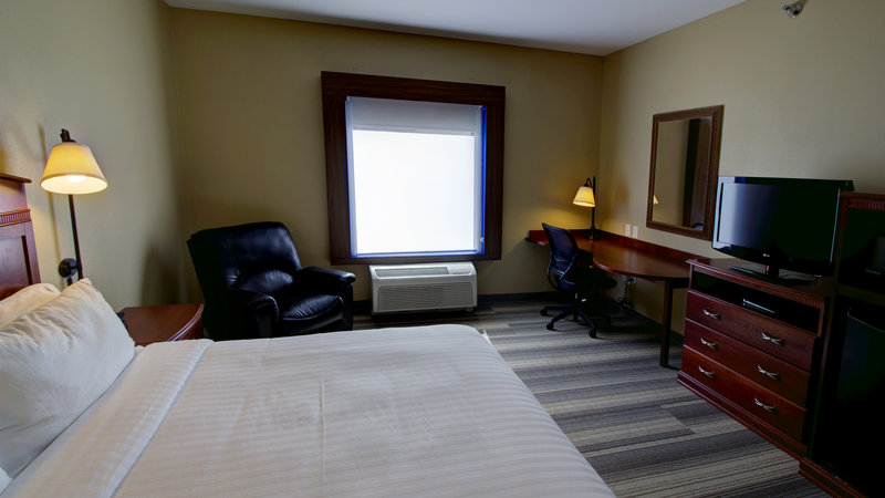 Holiday Inn Express & Suites Sioux City - Southern Hills-King bed guestroom with roll in shower, fridge and microwave<br/>Image from Leonardo