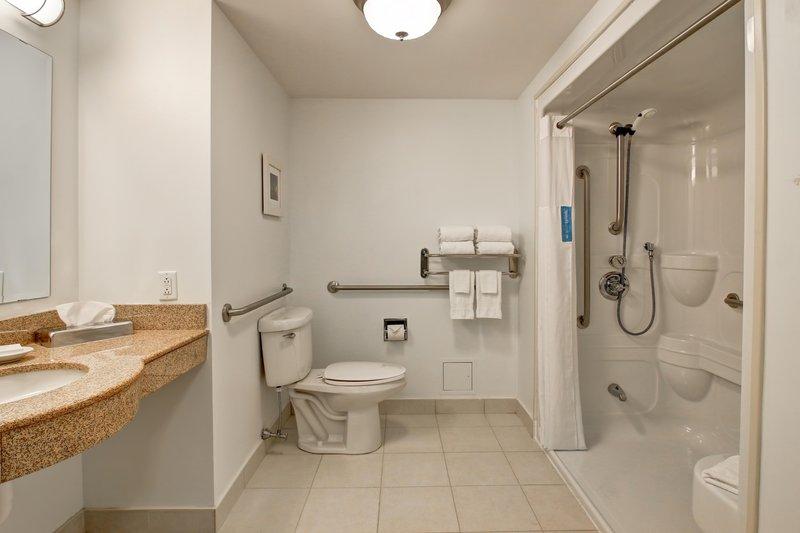 Hampton Inn &amp; Suites by Hilton Saint John-Queen Accessible Bathroom <br/>Image from Leonardo
