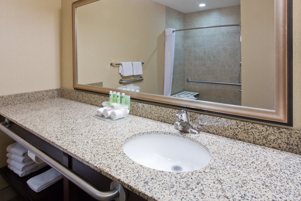 Holiday Inn Express & Suites Courtenay Comox Valley SW-ADA/Handicapped accessible Guest Bathroom vanity<br/>Image from Leonardo