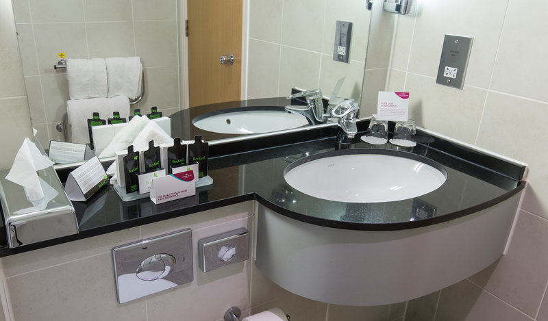 Crowne Plaza Chester-Bathroom Sink and Amenities<br/>Image from Leonardo