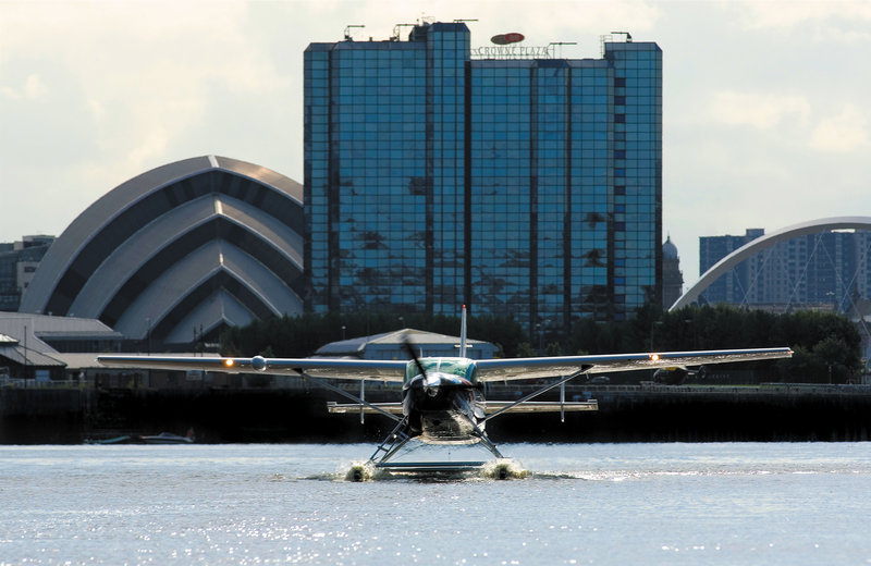 Crowne Plaza Glasgow-Hotel Exterior - The Seaplane lands near Crowne Plaza Glasgow<br/>Image from Leonardo