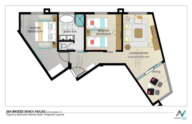 Sea Breeze Beach House-Family Suite Floor Plan<br/>Image from Leonardo