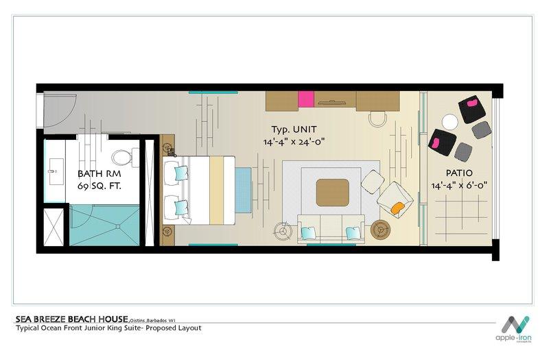 Sea Breeze Beach House-Ocean Front Junior Suite Floor Plan<br/>Image from Leonardo